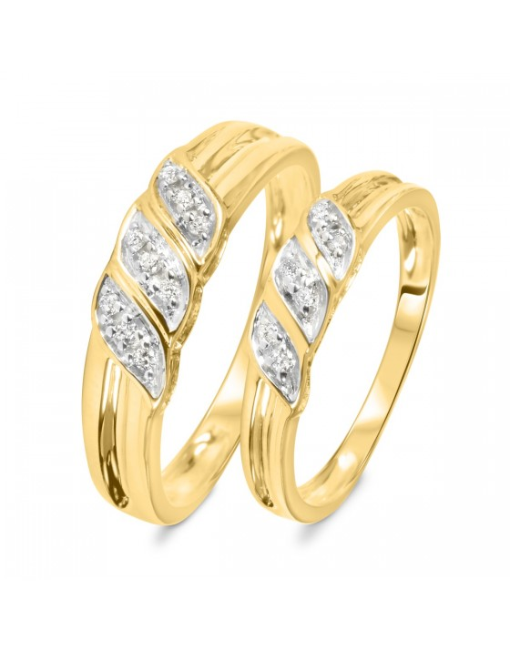 1/7 Carat T.W. Diamond Ladies' and Men's Wedding Rings 10K Yellow Gold
