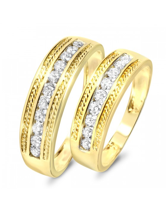 3/4 Carat T.W. Diamond Ladies' and Men's Wedding Rings 14K Yellow Gold