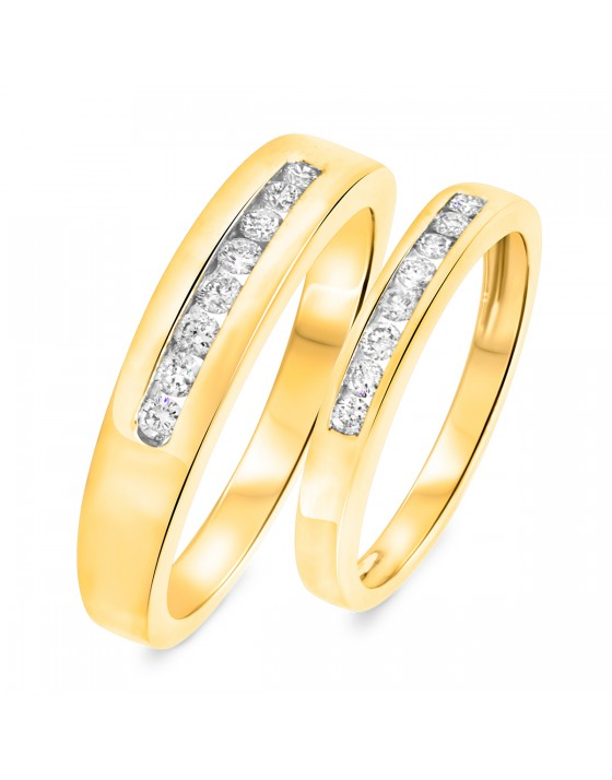 3/8 CT. T.W. Diamond His And Hers Wedding Rings 14K Yellow Gold