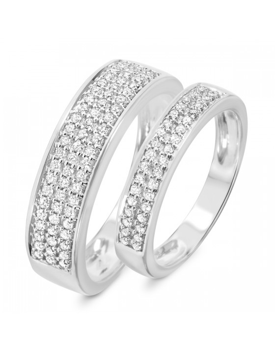 1/2 CT. T.W. Diamond His And Hers Wedding Rings 10K White Gold