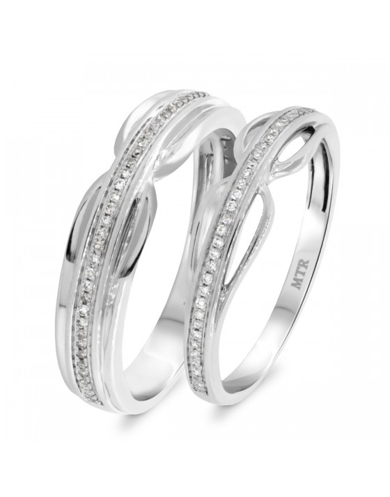 1/4 Carat T.W. Diamond Matching Wedding Band Set 10K White Gold