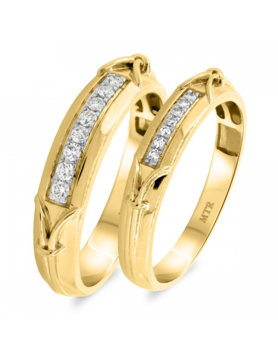 1/3 CT. T.W. Diamond Matching Wedding Band Set 14K Yellow Gold