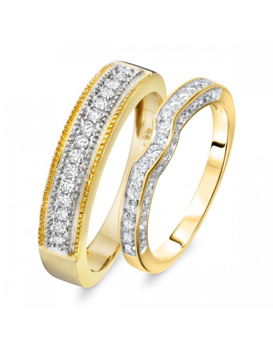 1/2 Carat T.W. Round Cut Diamond His And Hers Wedding Band Set 14K Yellow Gold
