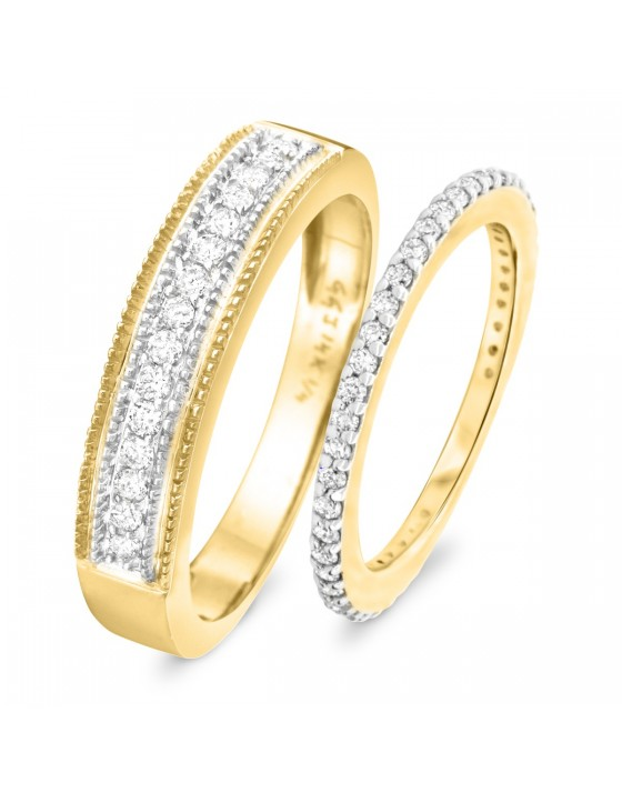2/3 Carat T.W. Round Cut Diamond His and Hers Wedding Band Set 14K Yellow Gold