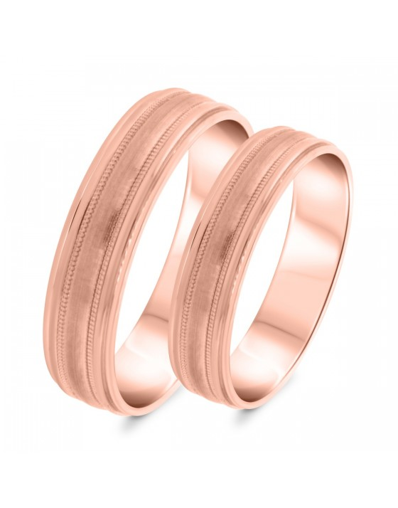Matching Wedding Band Set 10K Rose Gold