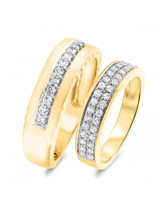 3/4 Carat T.W. Diamond Matching Wedding Band Set 10K Yellow Gold