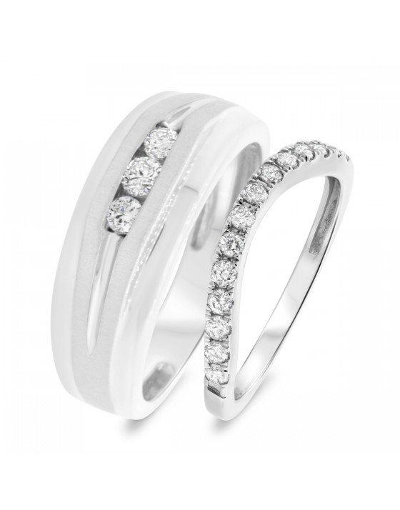 5/8 Carat T.W. Diamond Matching Wedding Band Set 14K White Gold
