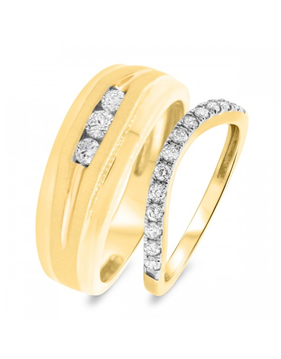 5/8 CT. T.W. Diamond Matching Wedding Band Set 10K Yellow Gold