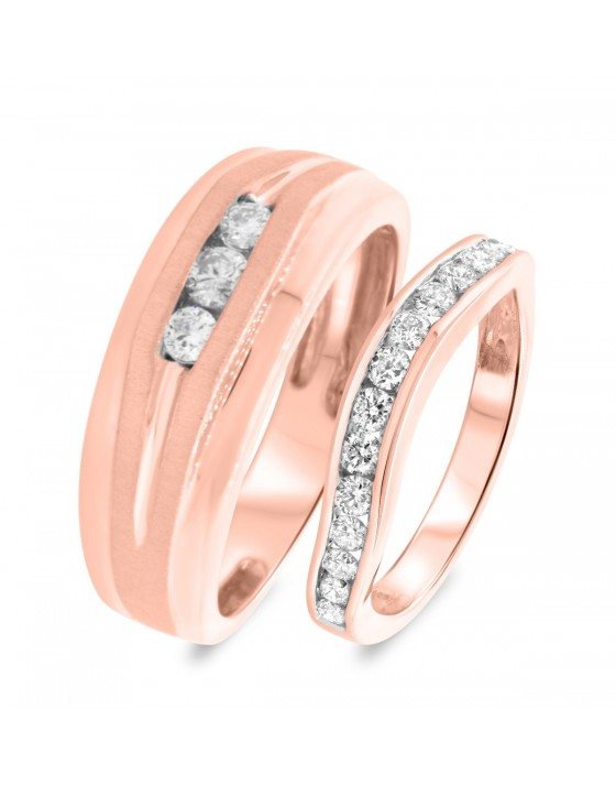 7/8 CT. T.W. Diamond Matching Wedding Band Set 10K Rose Gold