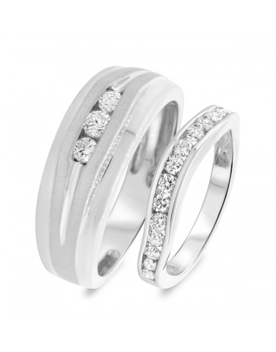 3/4 Carat T.W. Diamond Matching Wedding Band Set 14K White Gold