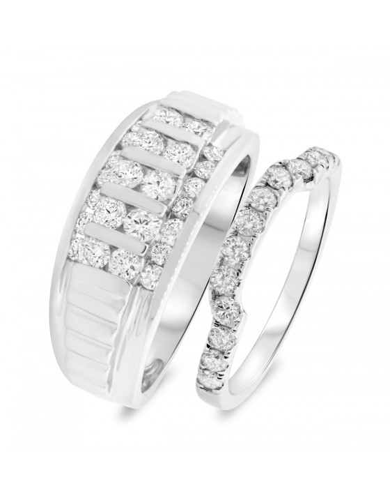 1 1/2 Carat T.W. Diamond Matching Wedding Band Set 14K White Gold