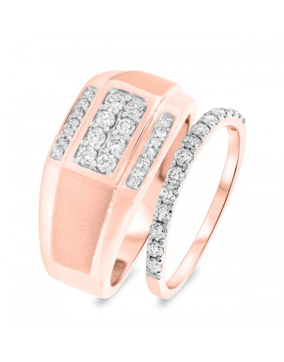 3/4 CT. T.W. Diamond Matching Wedding Band Set 10K Rose Gold