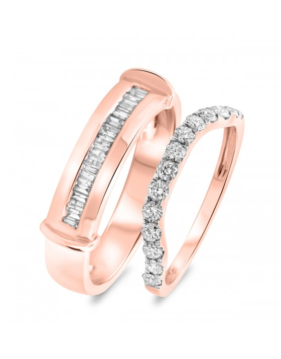 7/8 Carat T.W. Diamond Matching Wedding Band Set 14K Rose Gold