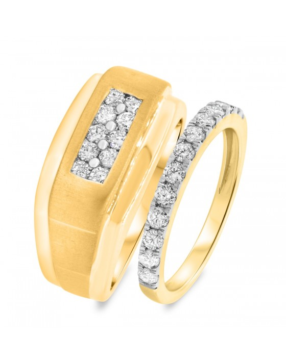 1 CT. T.W. Diamond Matching Wedding Band Set 10K Yellow Gold