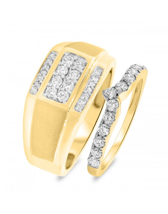 1 CT. T.W. Diamond Matching Wedding Band Set 14K Yellow Gold