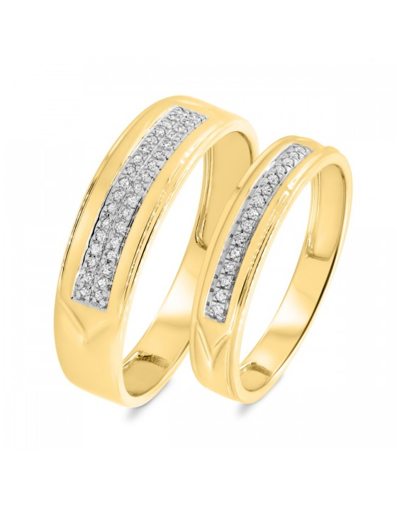 1/8 Carat T.W. Diamond Matching Wedding Band Set 14K Yellow Gold