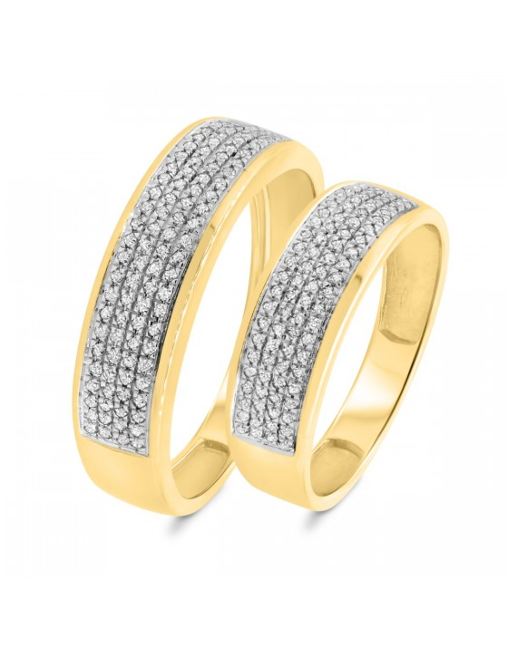 3/8 Carat T.W. Diamond Matching Wedding Band Set 10K Yellow Gold