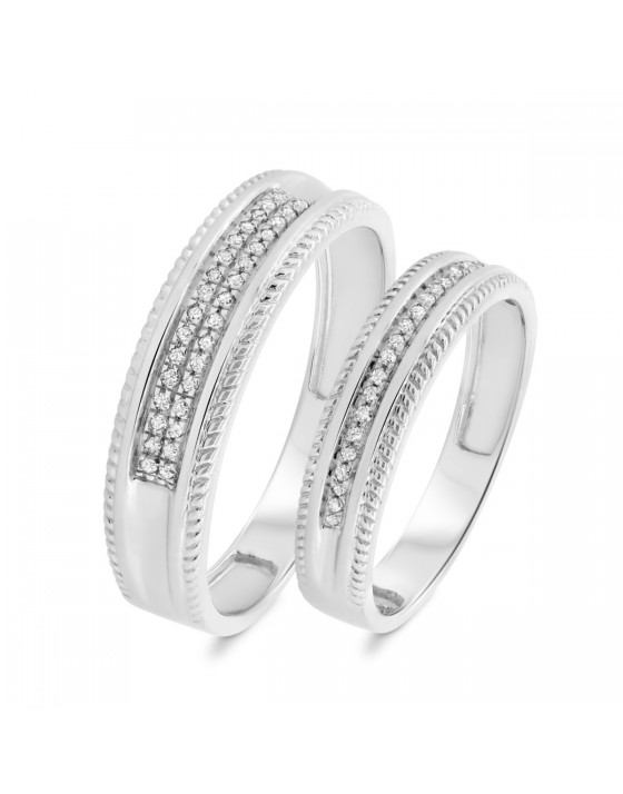 1/6 CT. T.W. Diamond Matching Wedding Band Set 14K White Gold