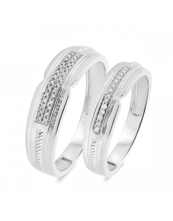 1/8 Carat T.W. Diamond Matching Wedding Band Set 10K White Gold