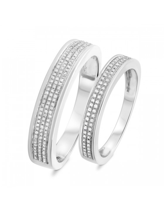 1/3 Carat T.W. Diamond Matching Wedding Band Set 14K White Gold