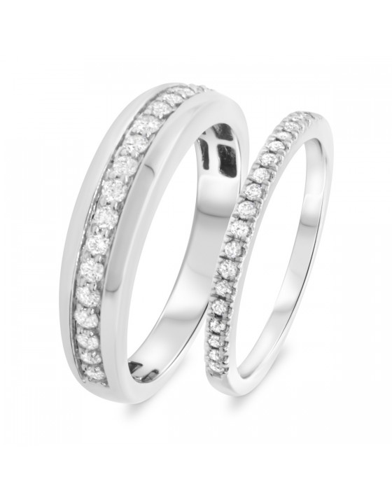 3/4 CT. T.W. Diamond Matching Wedding Band Set 14K White Gold