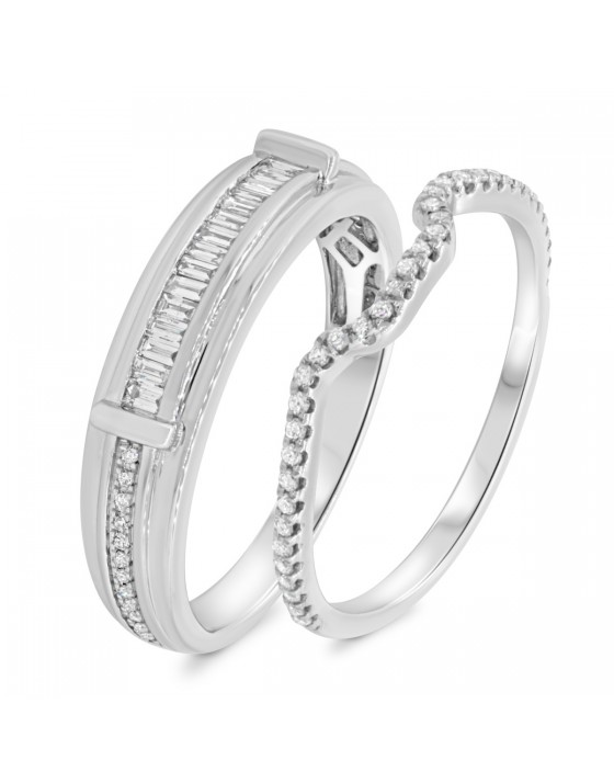 1/2 CT. T.W. Diamond Matching Wedding Band Set 10K White Gold