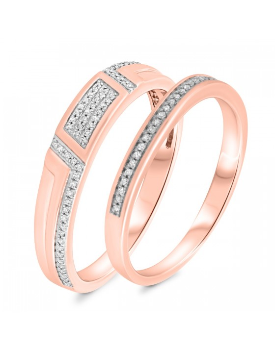 1/4 Carat T.W. Diamond Matching Wedding Band Set 14K Rose Gold