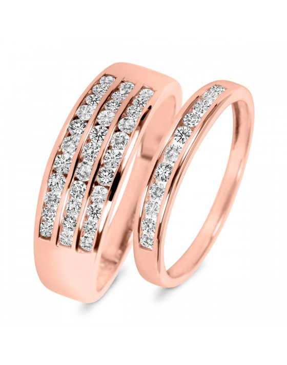 7/8 Carat T.W. Diamond His And Hers Wedding Rings 10K Rose Gold