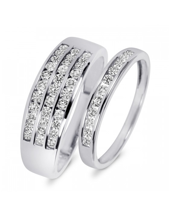 7/8 Carat T.W. Diamond His And Hers Wedding Rings 14K White Gold