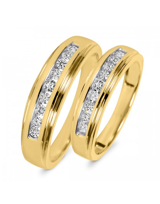 3/8 Carat T.W. Diamond His And Hers Wedding Band Set 14K Yellow Gold