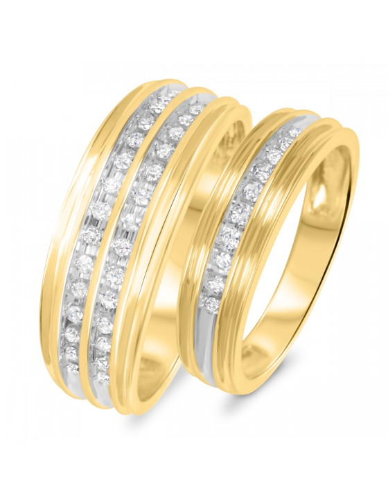 3/8 Carat T.W. Diamond His And Hers Wedding Rings 10K Yellow Gold