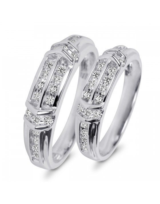 1/2 CT. T.W. Diamond His And Hers Wedding Band Set 14K White Gold