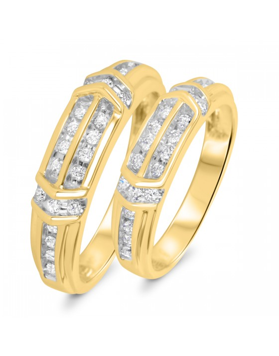 1/2 CT. T.W. Diamond His And Hers Wedding Band Set 10K Yellow Gold