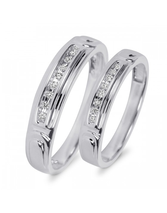 1/10 CT. T.W. Diamond His And Hers Wedding Rings 10K White Gold