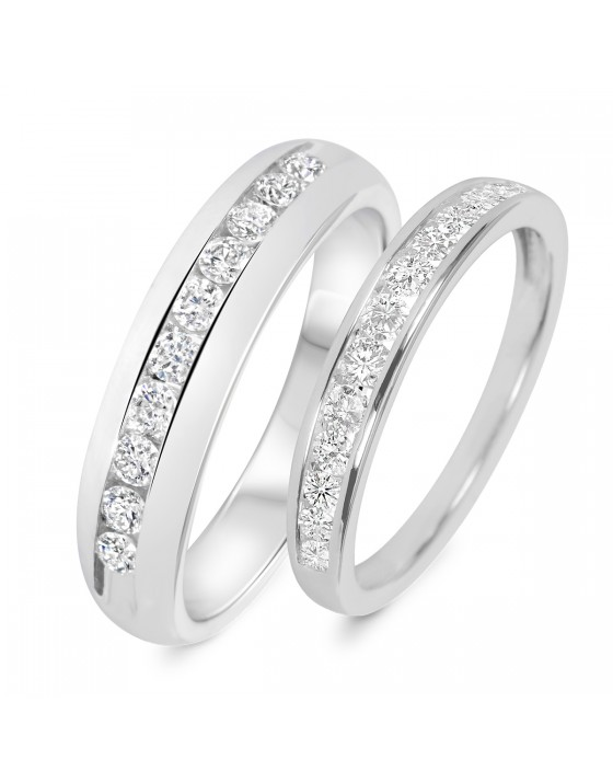 7/8 Carat T.W. Diamond His And Hers Wedding Band Set 14K White Gold
