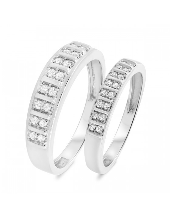3/8 CT. T.W. Diamond His And Hers Wedding Band Set 14K White Gold