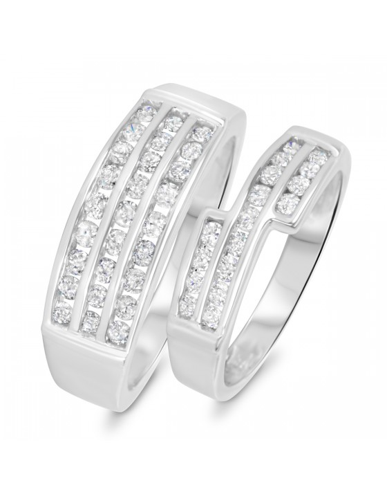 1 1/8 CT. T.W. Diamond His And Hers Wedding Band Set 10K White Gold