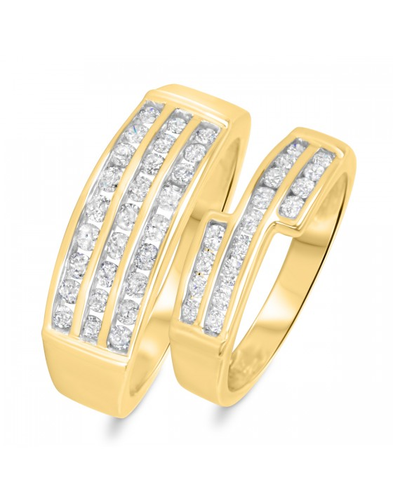 1 1/8 CT. T.W. Diamond His And Hers Wedding Band Set 10K Yellow Gold