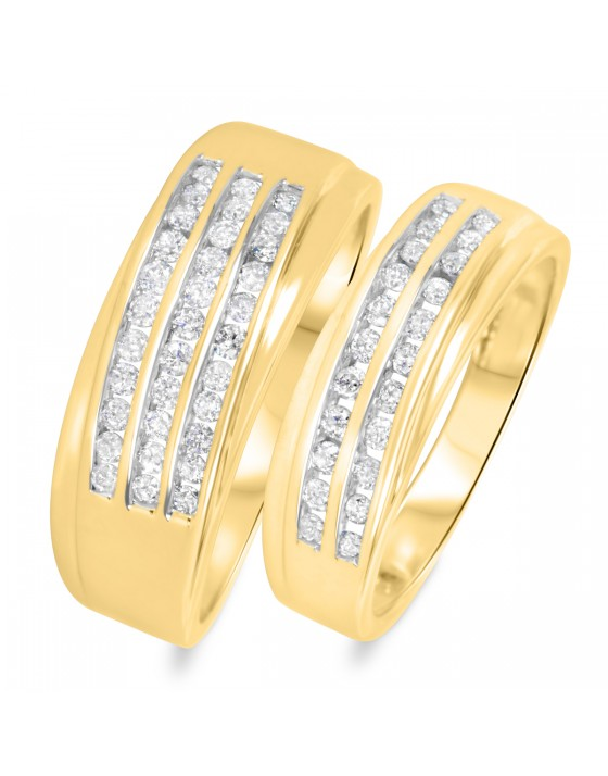 3/4 CT. T.W. Diamond His And Hers Wedding Band Set 10K Yellow Gold
