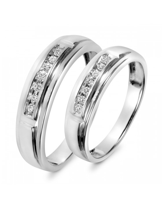 1/8 Carat T.W. Diamond His And Hers Wedding Band Set 10K White Gold