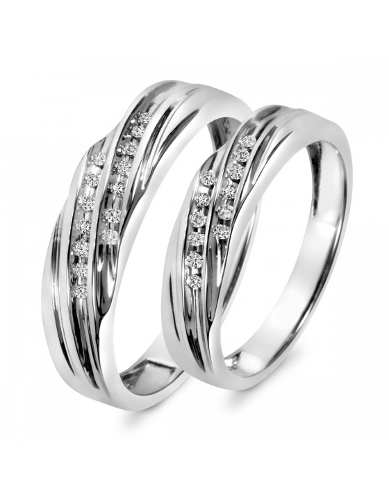 1/7 Carat T.W. Diamond His And Hers Wedding Band Set 10K White Gold