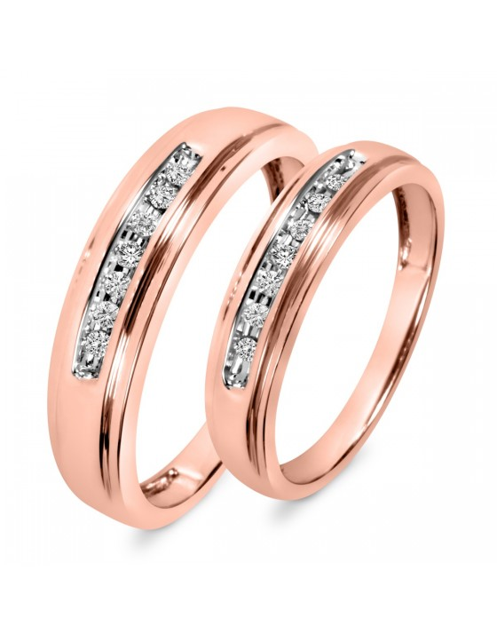 1/6 Carat T.W. Diamond His And Hers Wedding Band Set 10K Rose Gold