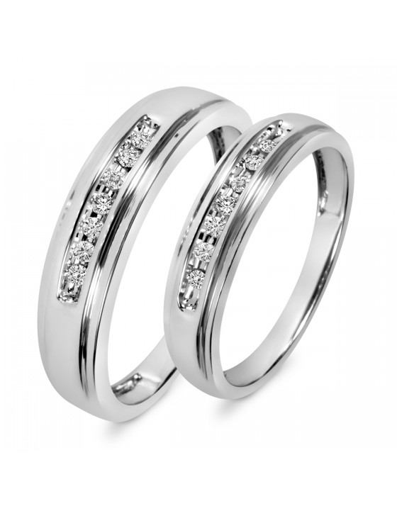 1/6 Carat T.W. Diamond His And Hers Wedding Band Set 14K White Gold