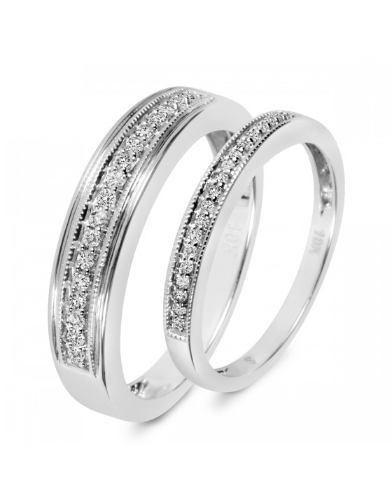 1/4 CT. T.W. Diamond His And Hers Wedding Band Set 14K White Gold
