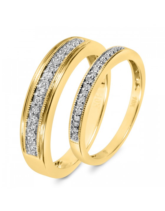 1/4 CT. T.W. Diamond His And Hers Wedding Band Set 14K Yellow Gold