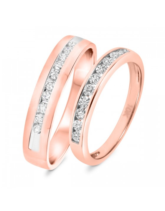 5/8 Carat T.W. Diamond His And Hers Wedding Band Set 10K Rose Gold
