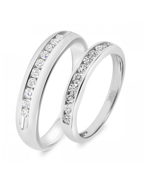 5/8 Carat T.W. Diamond His And Hers Wedding Band Set 10K White Gold