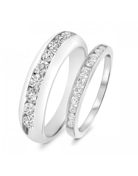 1 1/4 Carat T.W. Diamond His And Hers Wedding Band Set 14K White Gold