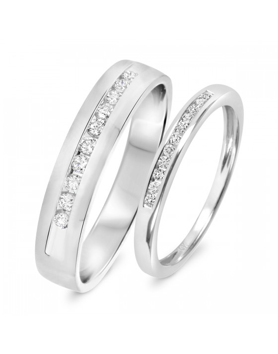 1/3 CT. T.W. Diamond His And Hers Wedding Band Set 10K White Gold