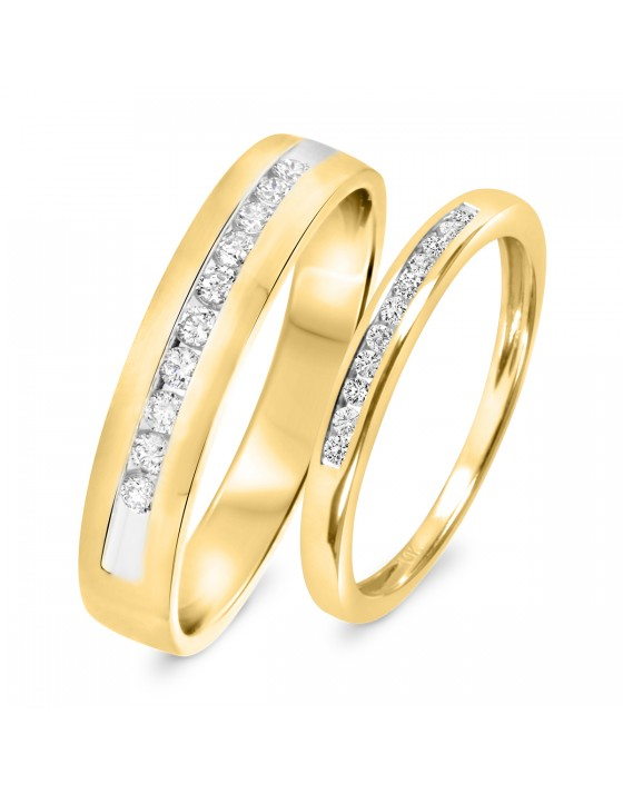 1/3 CT. T.W. Diamond His And Hers Wedding Band Set 10K Yellow Gold